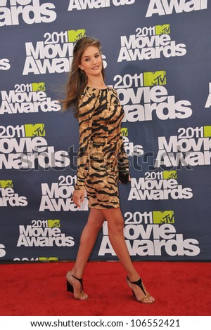 LOS ANGELES, CA - JUNE 5, 2011: Rosie Huntington-Whiteley arrives at the 2011 MTV Movie Awards at the Gibson Amphitheatre, Universal Studios, Hollywood. June 5, 2011  Los Angeles, CA