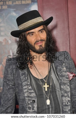 "LOS ANGELES, CA - JUNE 9, 2012: Russell Brand at the world premiere of his new movie ""Rock of Ages"" at Grauman's Chinese Theatre, Hollywood. June 9, 2012  Los Angeles, CA"