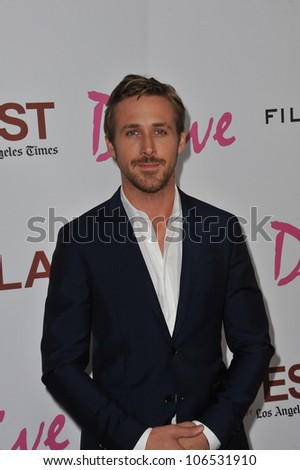"LOS ANGELES, CA - JUNE 17, 2011: Ryan Gosling at the premiere of his new movie ""Drive"" at the Regal Cinemas, L.A. Live. June 17, 2011  Los Angeles, CA"