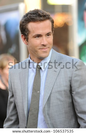 "LOS ANGELES, CA - JUNE 15, 2011: Ryan Reynolds at the world premiere of his new movie ""Green Lantern"" at Grauman's Chinese Theatre, Hollywood. June 15, 2011  Los Angeles, CA"