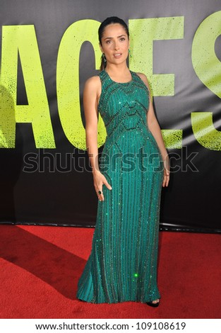 "LOS ANGELES, CA - JUNE 26, 2012: Salma Hayek at the world premiere of her movie ""Savages"" at Man Village Theatre, Westwood."