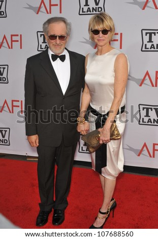 LOS ANGELES, CA - JUNE 10, 2010: Steven Spielberg & wife Kate Capshaw at the 2010 AFI Life achievement Award Gala, honoring director Mike Nichols, at Sony Studios, Culver City, CA.