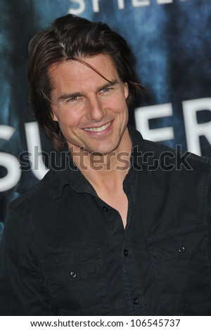 """LOS ANGELES, CA - JUNE 8, 2011: Tom Cruise at the Los Angeles premiere of """"Super 8"""" at the Regency Village Theatre, Westwood. June 8, 2011  Los Angeles, CA - stock photo"""