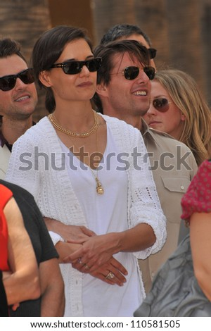 LOS ANGELES, CA - JUNE 22, 2009: Tom Cruise & wife Katie Holmes on Hollywood Boulevard for star ceremony honoring actress Cameron Diaz the Hollywood Walk of Fame.