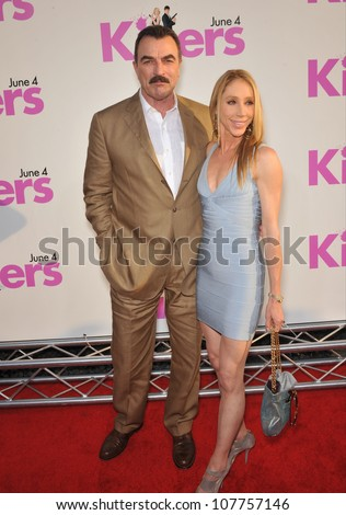 "LOS ANGELES, CA - JUNE 1, 2010: Tom Selleck & wife Jillie Mack at the Los Angeles premiere of his new movie ""Killers"" at the Cinerama Dome, Hollywood."