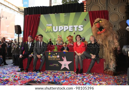 LOS ANGELES, CA - MAR 20: Leron Gubler, Rich Ross, Lisa Henson, Sean Henson at a ceremony where The Muppets are honored on the Hollywood Walk of Fame on March 20, 2012 in Los Angeles, California
