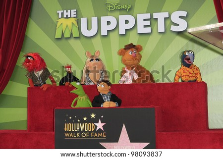 LOS ANGELES, CA - MAR 20: Muppets at a ceremony where The Muppets are honored with 2,466th Star on the Hollywood Walk of Fame on March 20, 2012 in Los Angeles, California