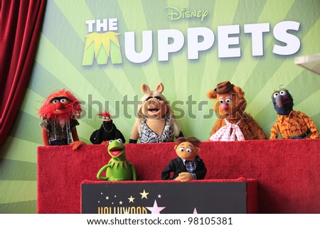 LOS ANGELES, CA - MAR 20: Muppets at a ceremony where The Muppets are honored with 2,466th Star on the Hollywood Walk of Fame on March 20, 2012 in Los Angeles, California - stock photo