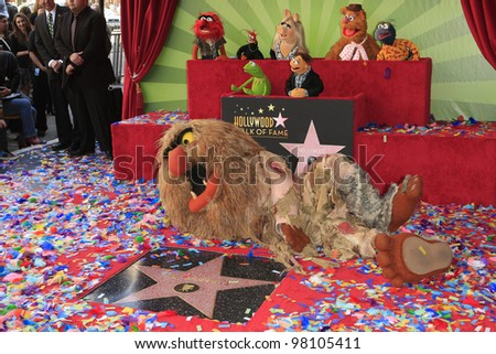 LOS ANGELES, CA - MAR 20: Sweetums, Muppets at a ceremony where The Muppets are honored with 2,466th Star on the Hollywood Walk of Fame on March 20, 2012 in Los Angeles, California