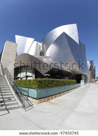 LOS ANGELES, CA - MARCH 2: A fisheye view of the Walt Disney Concert Hall in Los Angeles, California on March 2nd, 2012. It was designed by Frank Gehry and opened on October 24th, 2003.