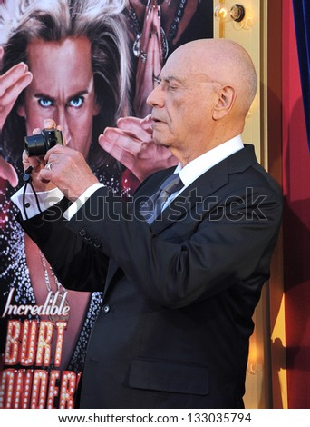 "LOS ANGELES, CA - MARCH 11, 2013: Alan Arkin at the world premiere of his movie ""The Incredible Burt Wonderstone"" at the Chinese Theatre, Hollywood."