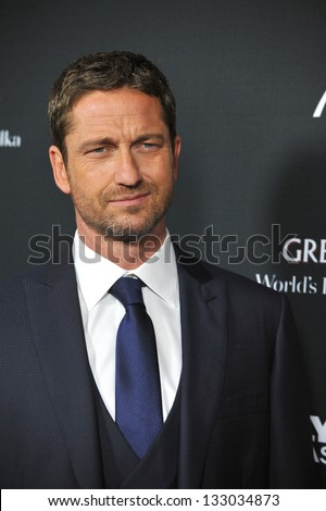 "LOS ANGELES, CA - MARCH 18, 2013: Gerard Butler at the Los Angeles premiere of his movie ""Olympus Has Fallen"" at the Cinerama Dome, Hollywood."