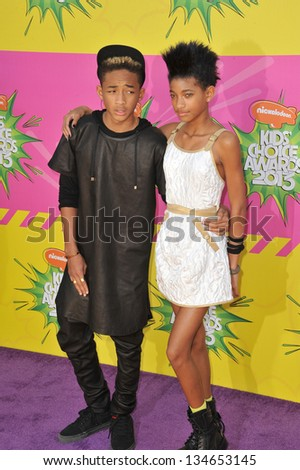 LOS ANGELES, CA - MARCH 23, 2013: Jaden Smith & Willow Smith, children of Will Smith & Jada Pinkett Smith, at Nickelodeon's 26th Annual Kids' Choice Awards at the Galen Centre, Los Angeles.