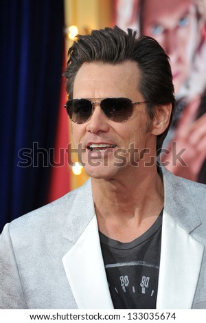 "LOS ANGELES, CA - MARCH 11, 2013: Jim Carrey at the world premiere of his movie ""The Incredible Burt Wonderstone"" at the Chinese Theatre, Hollywood."