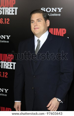 LOS ANGELES, CA - MARCH 13:  Jonah Hill at the premiere of Columbia Pictures '21 Jump Street' held at Grauman's Chinese Theater on March 13, 2012 in Los Angeles, California