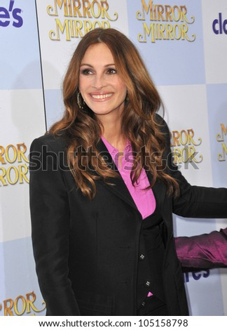 """LOS ANGELES, CA - MARCH 17, 2012: Julia Roberts at the world premiere of her new movie """"Mirror Mirror"""" at Grauman's Chinese Theatre, Hollywood. March 17, 2012  Los Angeles, CA"""