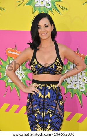 LOS ANGELES, CA - MARCH 23, 2013: Katy Perry at Nickelodeon's 26th Annual Kids' Choice Awards at the Galen Centre, Los Angeles.
