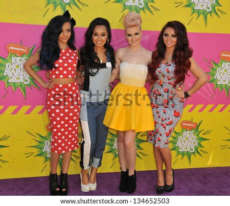 LOS ANGELES, CA - MARCH 23, 2013: Little Mix - Leigh-Anne Pinnock, Jade Thirlwall, Perrie Edwards & Jesy Nelson - at Nickelodeon's 26th Annual Kids' Choice Awards at the Galen Centre, Los Angeles.