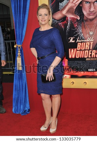 "LOS ANGELES, CA - MARCH 11, 2013: Melissa Joan Hart at the world premiere of ""The Incredible Burt Wonderstone"" at the Chinese Theatre, Hollywood."