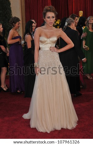 LOS ANGELES, CA - MARCH 7, 2010: Miley Cyrus at the 82nd Annual Academy Awards at the Kodak Theatre, Hollywood.