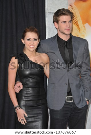 "LOS ANGELES, CA - MARCH 25, 2010: Miley Cyrus & Liam Hemsworth at the world premiere of their new movie ""The Last Song"" at the Arclight Theatre, Hollywood."