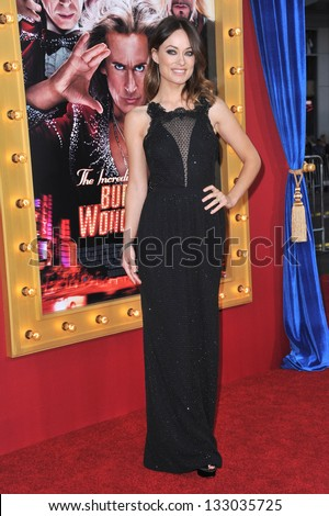 "LOS ANGELES, CA - MARCH 11, 2013: Olivia Wilde at the world premiere of her movie ""The Incredible Burt Wonderstone"" at the Chinese Theatre, Hollywood."