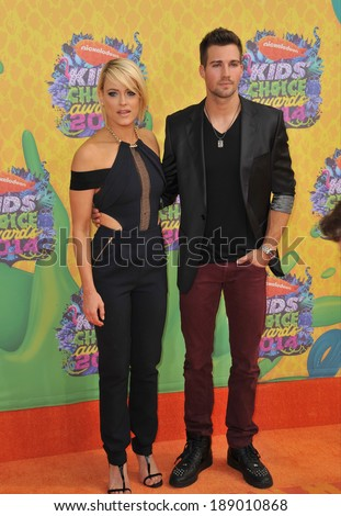 LOS ANGELES, CA - MARCH 29, 2014: Peta Murgatroyd & James Maslow at Nickelodeon's 27th Annual Kids' Choice Awards at the Galen Centre, Los Angeles.