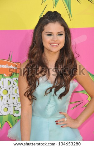 LOS ANGELES, CA - MARCH 23, 2013: Selena Gomez at Nickelodeon's 26th Annual Kids' Choice Awards at the Galen Centre, Los Angeles.