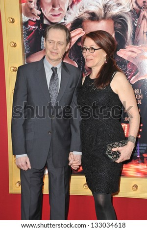 "LOS ANGELES, CA - MARCH 11, 2013: Steve Buscemi & wife at the world premiere of his movie ""The Incredible Burt Wonderstone"" at the Chinese Theatre, Hollywood."
