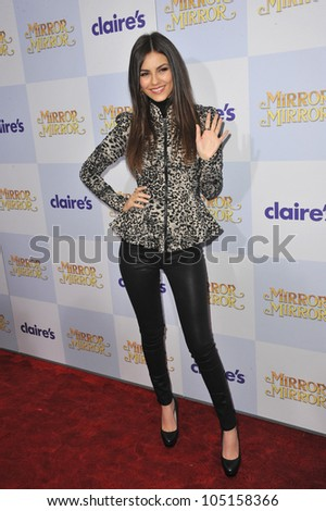"LOS ANGELES, CA - MARCH 17, 2012: Victoria Justice at the world premiere of ""Mirror Mirror"" at Grauman's Chinese Theatre, Hollywood. March 17, 2012  Los Angeles, CA"