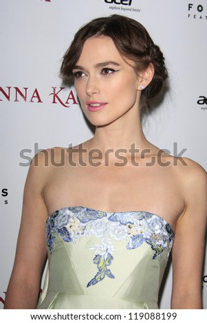 LOS ANGELES, CA - NOV 14:  Keira Knightly at  the premiere of 'Anna Karenina' at ArcLight Hollywood on November 14, 2012 in Los Angeles, California.