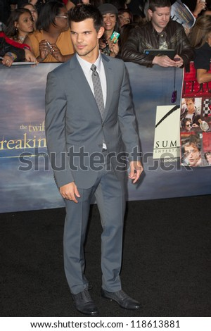 LOS ANGELES, CA - NOVEMBER 12: Actor Taylor Lautner arrives at the premiere of The Twilight Saga: Breaking Dawn - Part 2 at the Nokia Theater in Los Angeles, CA on November 12, 2012