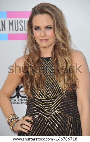 LOS ANGELES, CA - NOVEMBER 24, 2013: Alicia Silverstone at the 2013 American Music Awards at the Nokia Theatre, LA Live.