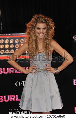 """LOS ANGELES, CA - NOVEMBER 15, 2010: AnnaLynne McCord at the Los Angeles premiere of """"Burlesque"""" at Grauman's Chinese Theatre, Hollywood."""