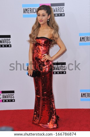 LOS ANGELES, CA - NOVEMBER 24, 2013: Ariana Grande at the 2013 American Music Awards at the Nokia Theatre, LA Live.  - stock photo