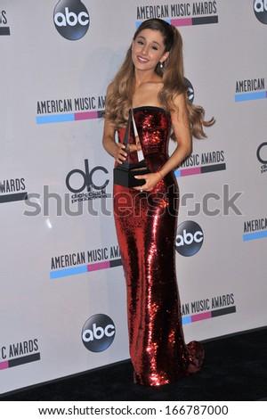 LOS ANGELES, CA - NOVEMBER 24, 2013: Ariana Grande in the pressroom at the 2013 American Music Awards at the Nokia Theatre, LA Live.