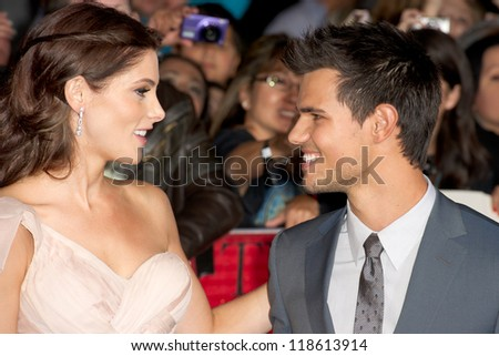 LOS ANGELES, CA - NOVEMBER 12: Ashley Greene and Taylor Lautnor arrive at the premiere of The Twilight Saga: Breaking Dawn - Part 2 at the Nokia Theater in Los Angeles, CA on November 12, 2012