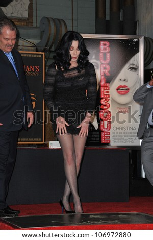 LOS ANGELES, CA - NOVEMBER 18, 2010: Cher at Grauman's Chinese Theatre, Hollywood, where she was honored by having her hand & footprints set in cement.