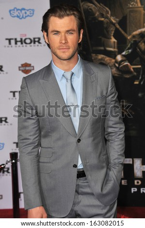 "LOS ANGELES, CA - NOVEMBER 4, 2013: Chris Hemsworth at the US premiere of his movie ""Thor: The Dark World"" at the El Capitan Theatre, Hollywood."