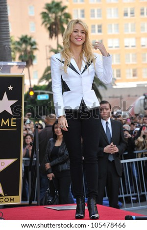 LOS ANGELES, CA - NOVEMBER 8, 2011: Columbian singer Shakira on Hollywood Boulevard where she was honored with the 2,454th star on the Hollywood Walk of Fame. November 8, 2011  Los Angeles, CA