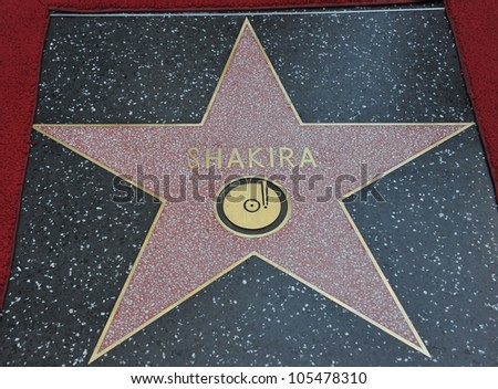 LOS ANGELES, CA - NOVEMBER 8, 2011: Columbian singer Shakira's star on Hollywood Boulevard where she was honored with the 2,454th star on the Hollywood Walk of Fame. November 8, 2011  Los Angeles, CA