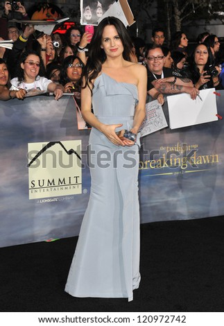 "LOS ANGELES, CA - NOVEMBER 12, 2012: Elizabeth Reaser at the world premiere of her movie ""The Twilight Saga: Breaking Dawn - Part 2"" at the Nokia Theatre LA Live."