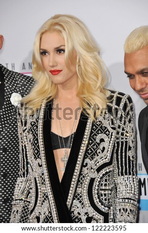 LOS ANGELES, CA - NOVEMBER 18, 2012: Gwen Stefani of No Doubt at the 40th Anniversary American Music Awards at the Nokia Theatre LA Live.