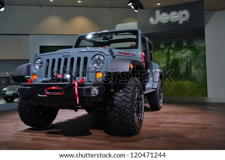 LOS ANGELES, CA. - NOVEMBER 30:  Jeep Wrangler Rubicon on display  at the 2012 Los Angeles Auto Show on November 30, 2012 at the L.A. Convention Center in Los Angeles.