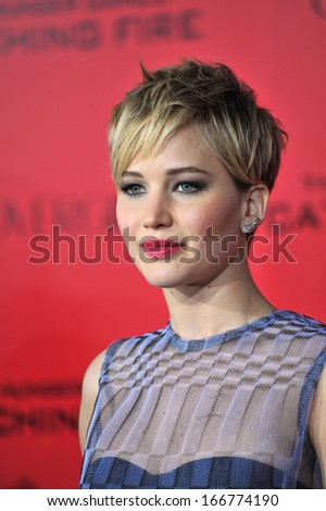 "LOS ANGELES, CA - NOVEMBER 18, 2013: Jennifer Lawrence at the US premiere of her movie ""The Hunger Games: Catching Fire"" at the Nokia Theatre LA Live."