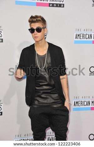 LOS ANGELES, CA - NOVEMBER 18, 2012: Justin Bieber at the 40th Anniversary American Music Awards at the Nokia Theatre LA Live. - stock photo