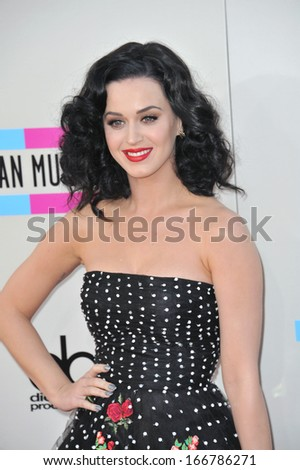 LOS ANGELES, CA - NOVEMBER 24, 2013: Katy Perry at the 2013 American Music Awards at the Nokia Theatre, LA Live.
