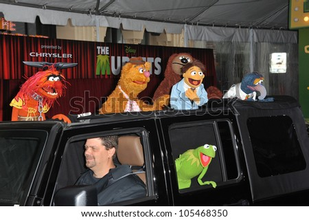 """LOS ANGELES, CA - NOVEMBER 12, 2011: Kermit the Frog & The Muppets at the world premiere of """"The Muppets"""" at the El Capitan Theatre, Hollywood. November 12, 2011  Los Angeles, CA"""
