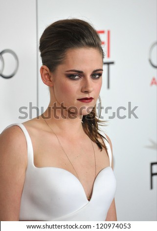 """LOS ANGELES, CA - NOVEMBER 3, 2012: Kristen Stewart at the AFI Fest premiere of her movie """"On The Road"""" at Grauman's Chinese Theatre, Hollywood."""