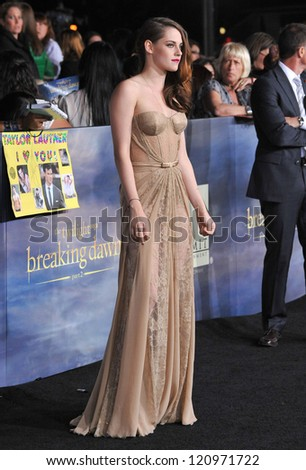 "LOS ANGELES, CA - NOVEMBER 12, 2012: Kristen Stewart at the world premiere of her movie ""The Twilight Saga: Breaking Dawn - Part 2"" at the Nokia Theatre LA Live."